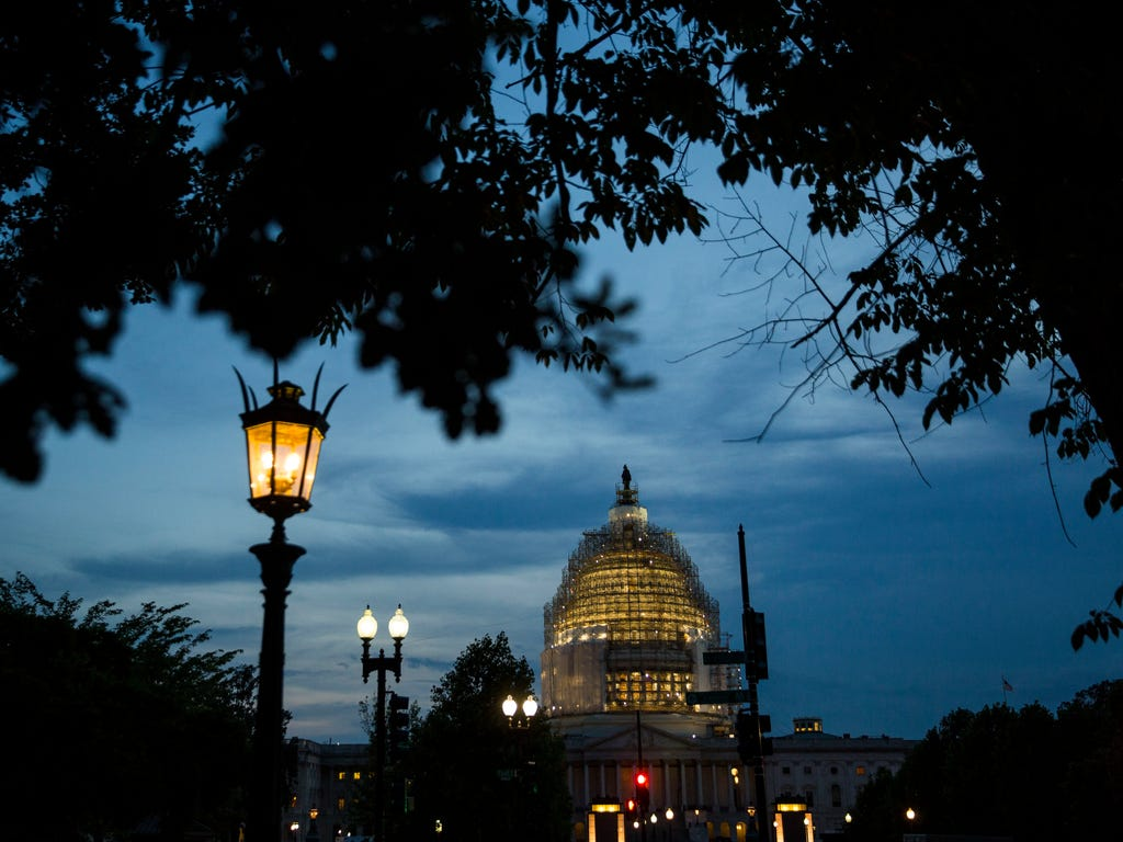 The U.S. Capitol at dusk in Washington, DC.