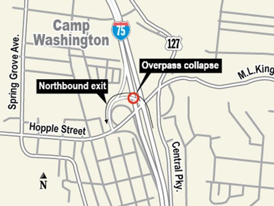 A map of the overpass collapse