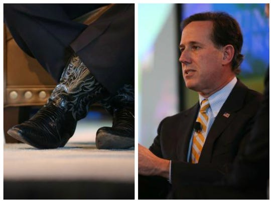 Santorum looks sharp from the ankles up, said Kevin Hansen of Men's Style Lab, but the candidate sometimes wears cowboy boots that could read as inauthentic.