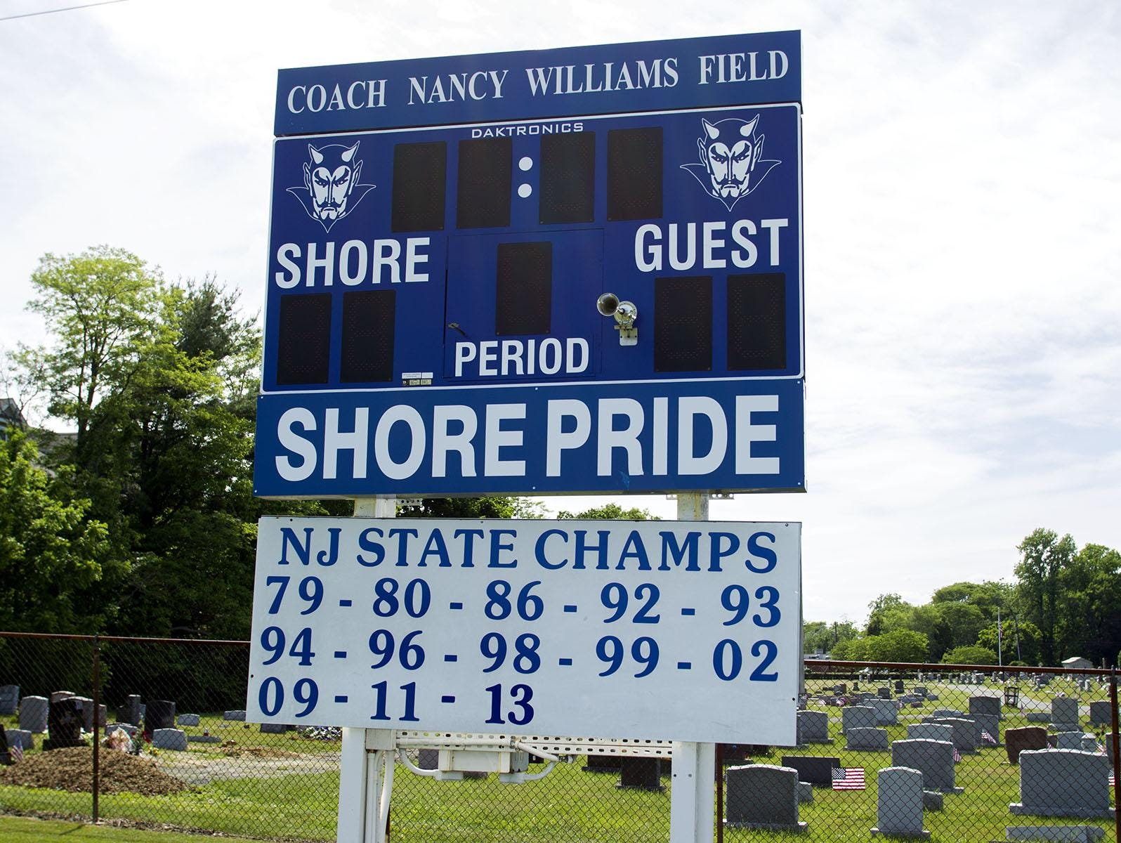 A look at the scoreboard at Shore Regional, which documents the program's decades of success.