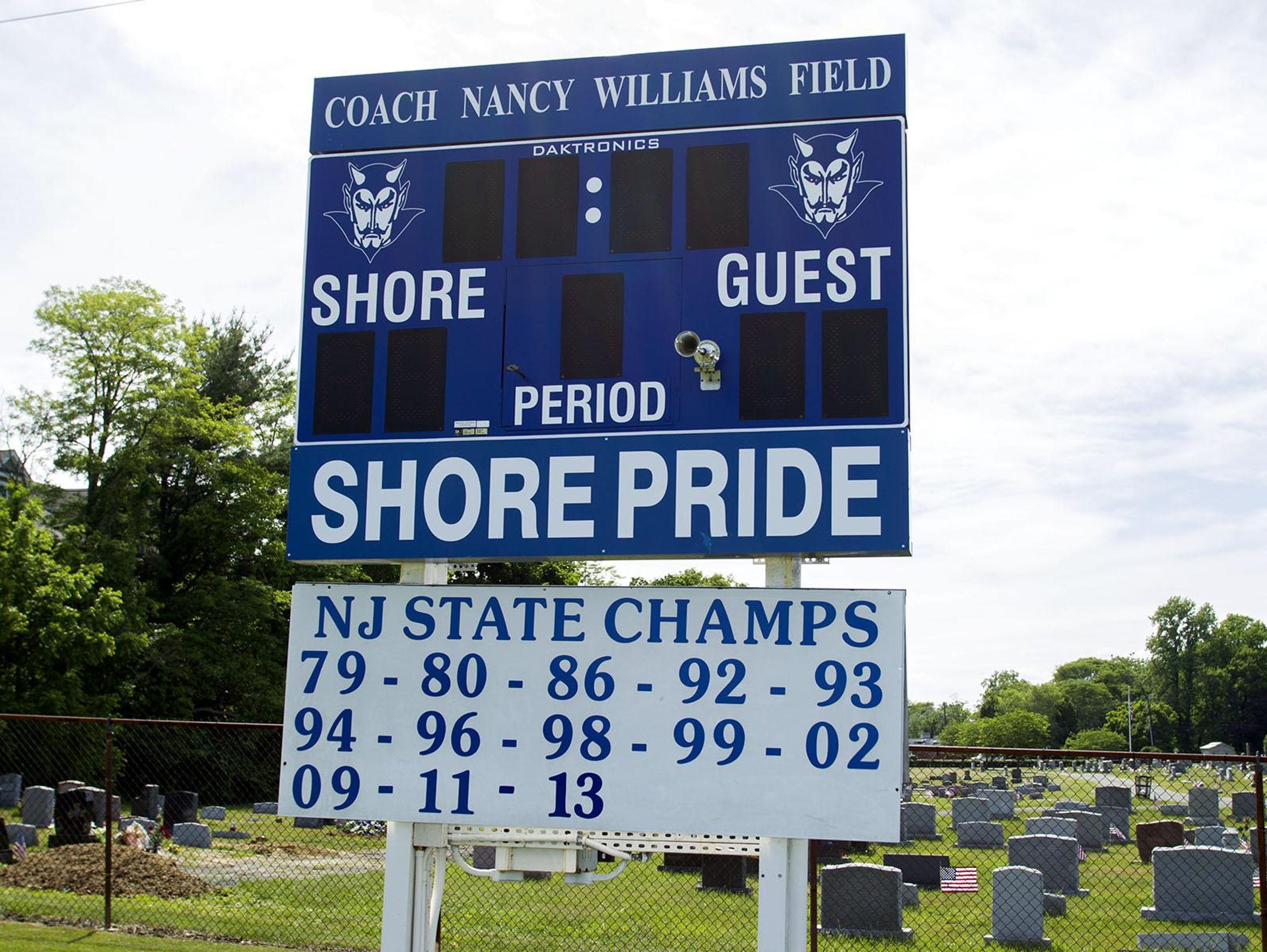 A look at the scoreboard at Shore Regional, which documents