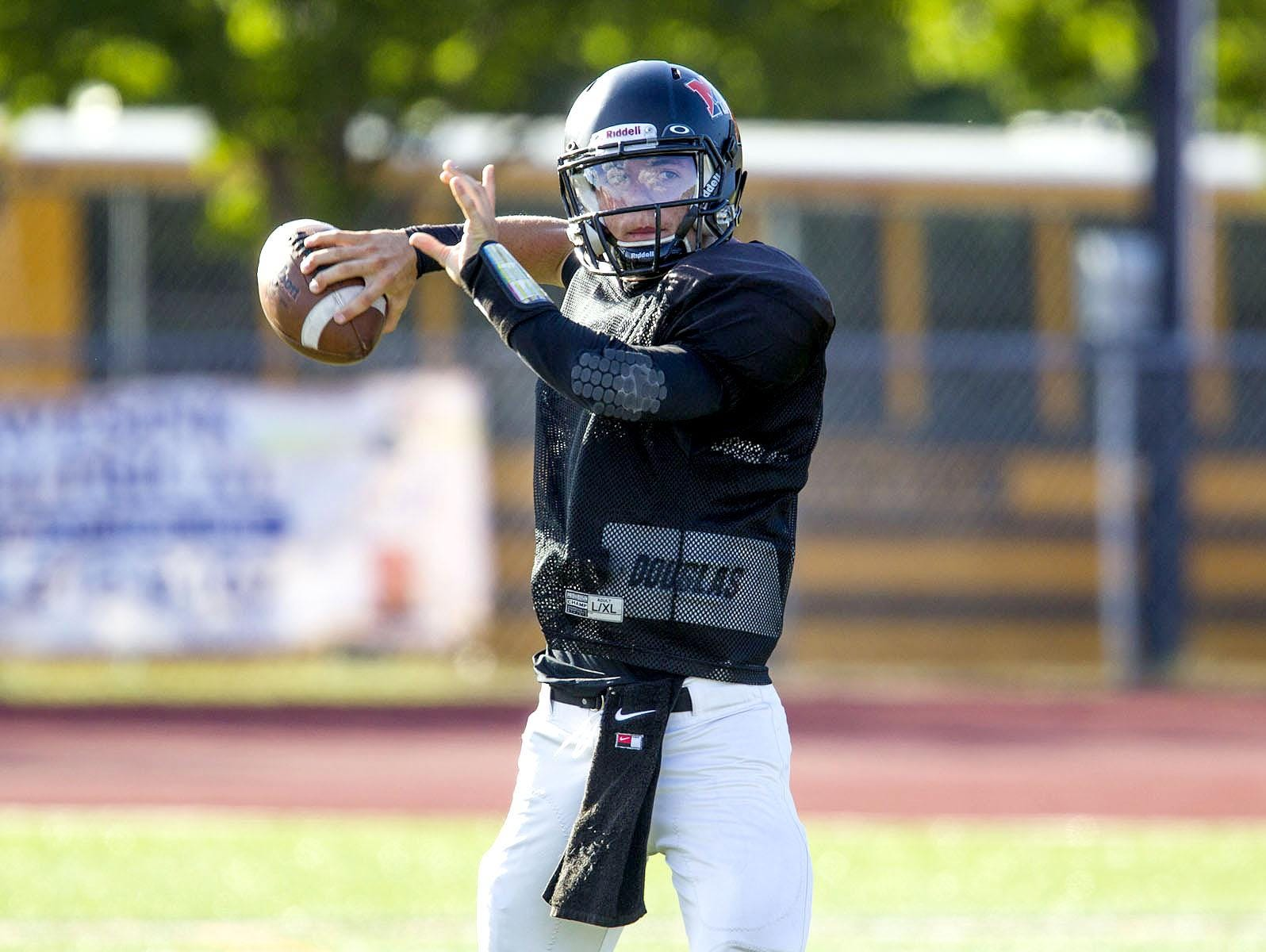 Middletown North quarterback Donald Glenn throws a pass during a scrimmage against Allentown earlier this summer.