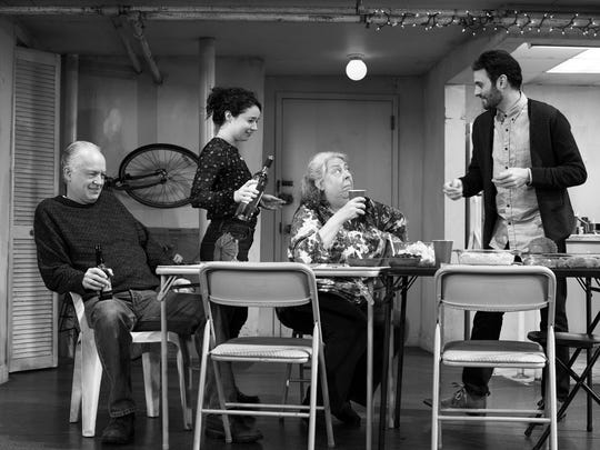 """""""The Humans"""" stars Reed Birney (left to right), Sarah Steele, Jayne Houdyshell and Arian Moayed."""