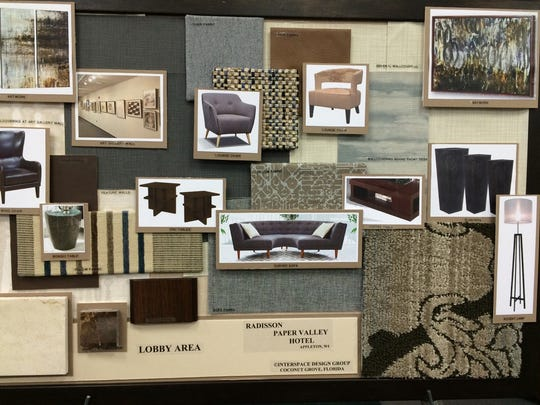 Design boards from Interspace Design Group for the Radisson Paper Valley Hotel lobby.