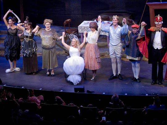 Ali Stroker (fourth from left) plays the Fairy Godmother