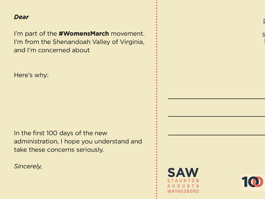 SAW VA – 10 Actions/100 Days postcard design by Marc