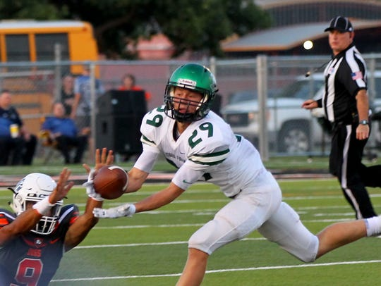 Kaden Ashlock of Iowa Park makes the interception against