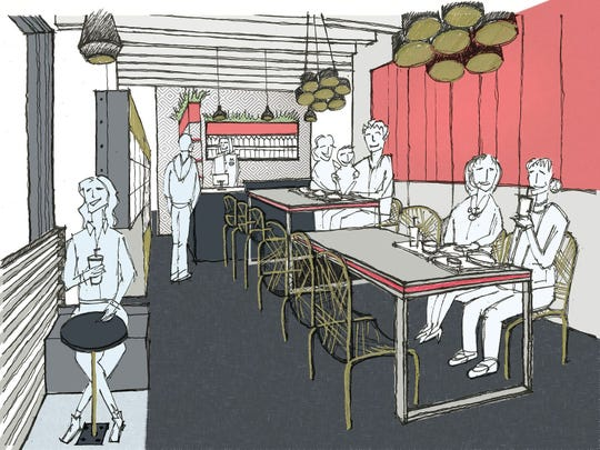 A sneak peek at the design of the interior of Marie's Sandwich Bar, as designed by architect Benita Cooper, in collaboration with chef/owner Nick Capaldi.