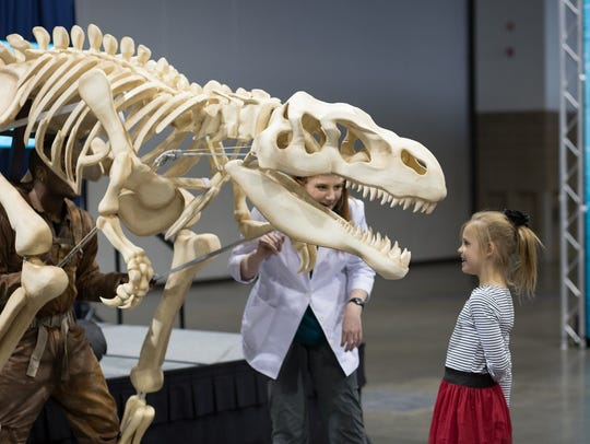 Kids can get up close and personal with a dinosaur