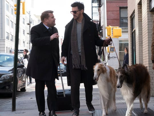 "It's the men of ""Ocean's 8:"" James Corden (left) and"