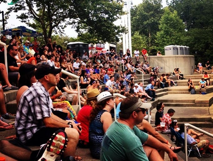 Fans take a break at the Amphitheater stage for Jesse Thomas #bunburyfestival.