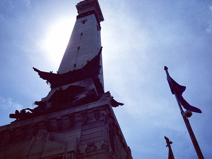 "This dramatic shot of the Soldiers and Sailors Monument was posted by Dan Dark. ""Lunch on the Circle. Amazing day."""