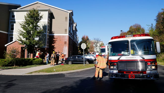 Local fire departments respond to a fire at U Club Apartments in University Plaza on Vestal Parkway on Friday, October 20, 2017.
