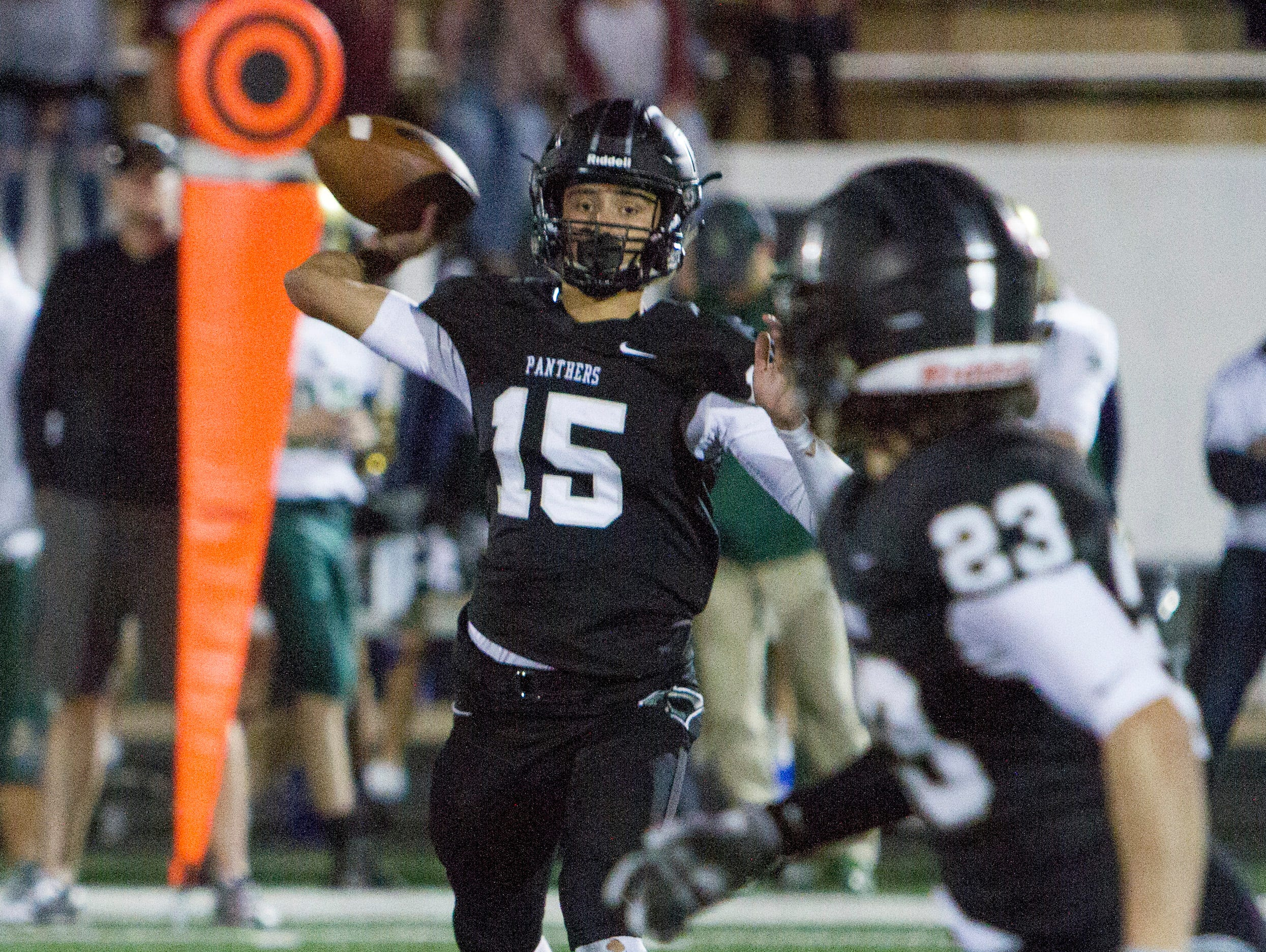 Pine View quarterback Ryan Javines throws to Lance Mandrigues during the Panthers' 13-7 win over Snow Canyon Friday, Sept. 23, 2016.
