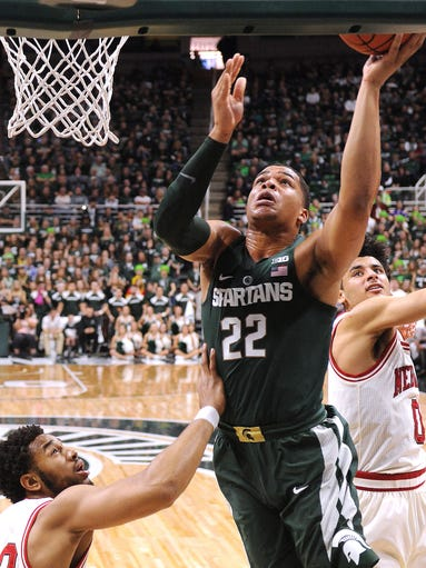 Spartan Miles Bridges slashes through the Husker defense