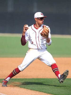This May 20, 2016 photo shows JSerra Catholic High School third baseman Royce Lewis preparing to throw to first base during an opening round Division 1 baseball playoff game in San Juan Capistrano, Calif. The Minnesota Twins think they've got their shortstop of the future in the speedy and slick-fielding Royce Lewis. The California high school star was taken with the No. 1 pick in the Major League Baseball draft Monday, June 12, 2017. (Allen J. Schaben/Los Angeles Times via AP)