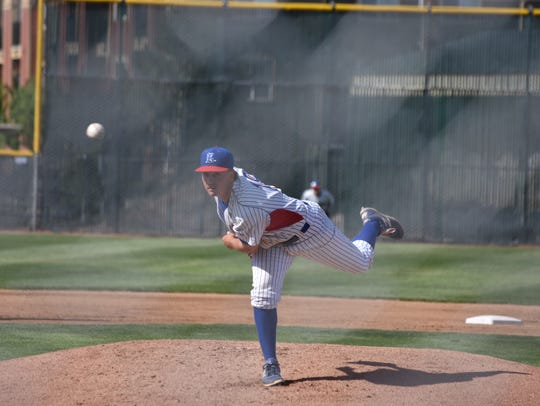 Reno's Mickey Coyne delivers a pitch against Galena