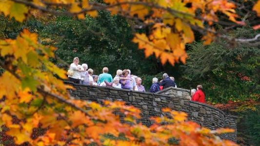 File Photo: Busloads of happy leaf-peeping tourists look down at the popular Middle Falls from the overlook at Glen Iris Inn in Letchworth State Park in Castile.