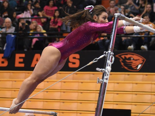 Oregon State gymnast Erika Aufiero was named a first-team all-America last season on uneven bars.