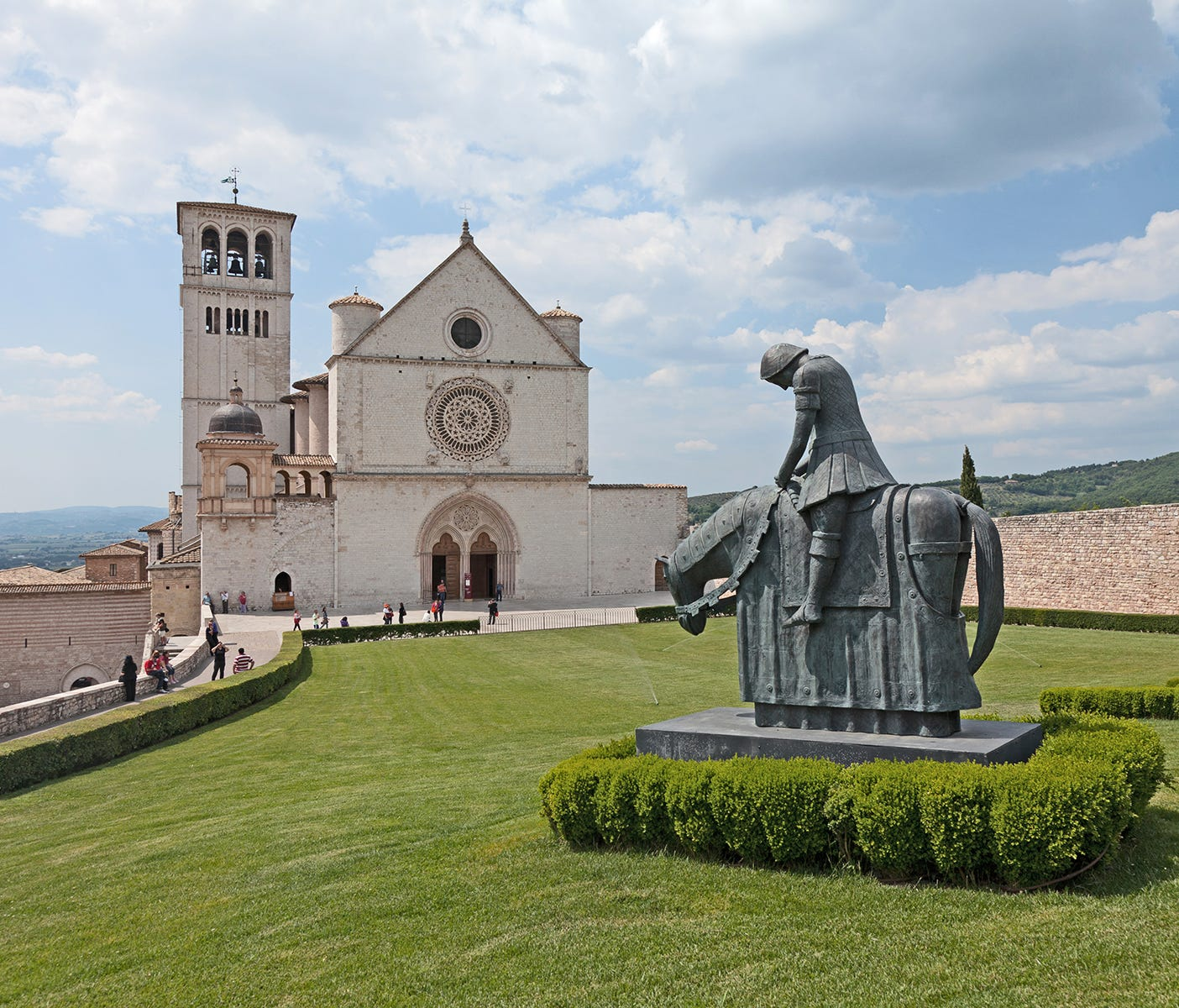 The Basilica of St. Francis rises from a ridge at the lower end of Assisi's old town.