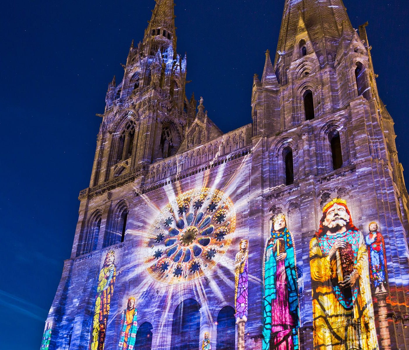 The town of Chartres is worth an overnight trip to take in its nighttime sound-and-light show, which incorporates 24 sites in an illuminated tour.