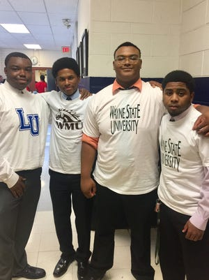 From left, Loyola High students Aaron Dorsey, Jordan Carter, Terry Harris and Andrew Hemphill at College Signing Day.