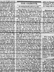 A story appeared in the July 2, 1823 edition of the