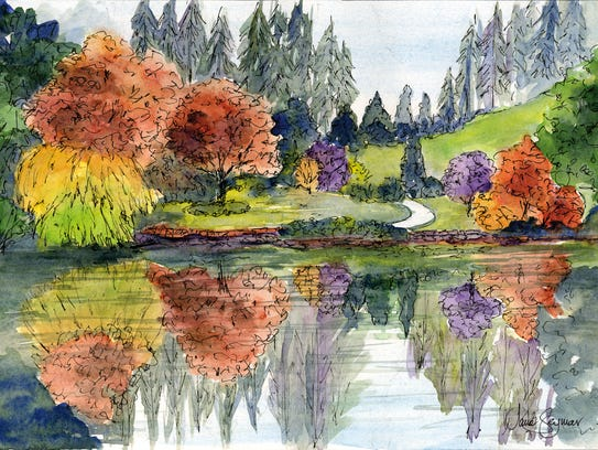 """Scenes from Butchart Gardens Autumn Pond"" by Jane"