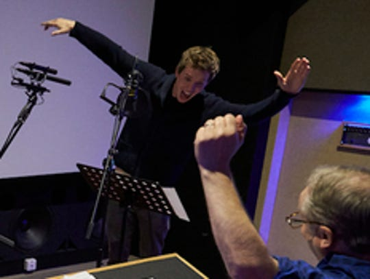 Eddie Redmayne gets into the recording with director