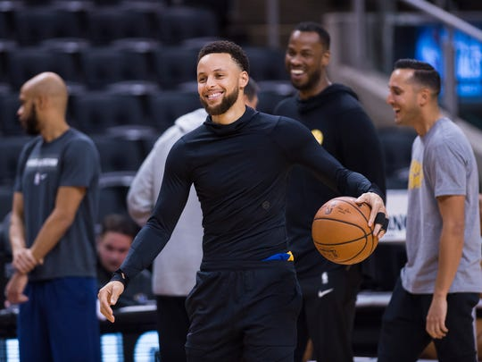 Golden State Warriors guard Stephen Curry smiles during practice for the NBA Finals against the Toronto Raptors in Toronto, Wednesday, May 29, 2019. Game 1 of the NBA Finals is Thursday in Toronto. (Nathan Denette/The Canadian Press via AP)