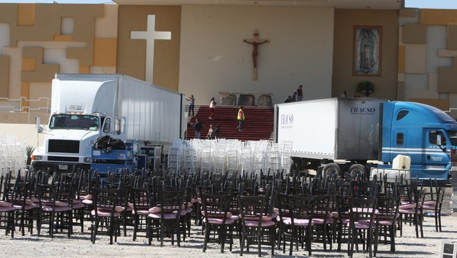 Crews on Thursday continue cleaning up the site where Pope Francis celebrated Mass for 250,000 people Wednesday in Juárez.