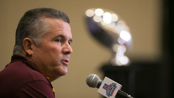ASU head football coach Todd Graham speaks to the media the Motel 6 Cactus Bowl Media Day at the JW Marriott Scottsdale Camelback Inn Resort and Spa on Thursday, December 31, 2015. ASU plays West Virginia in the Motel 6 Cactus Bowl Media Day at Chase Field in Phoenix on Saturday, January 2, 2016.