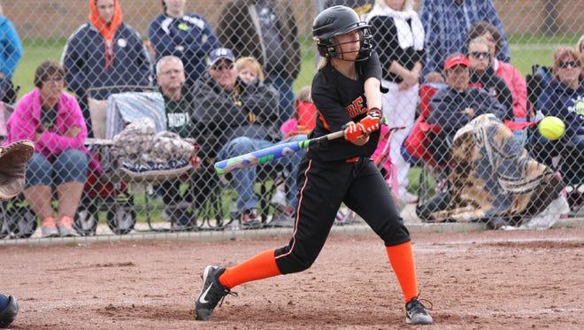 Gibsonburg's Katy Roberts swings at a pitch Saturday against Lakota.