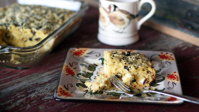 For a change of pace, replace sweets with Savory Feta Cheese and Kalamata Olive Cake for your next coffee break.