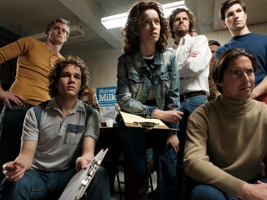 """The first part of """"When We Rise"""" introduces influential civil rights activists in their youth, including Cleve Jones, portrayed here by Austin P. McKenzie (second from left)."""