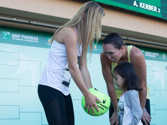Cici Bellis and Jelena Jankovic pick names for the women's draw with fans at the BNP Paribas Open in Indian Wells, Calif., Monday, March 6, 2017.