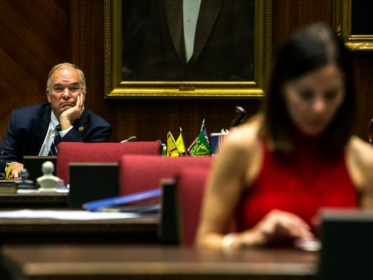 Rep. Don Shooter waits before a vote on whether to remove him from office on Thursday, Feb. 1, 2018, at the Arizona House of Representatives chambers in Phoenix. Rep. Michelle Ugenti-Rita is seen in the foreground.