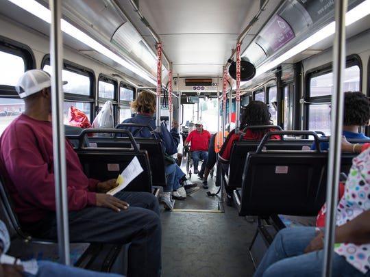 Passengers ride a Greenlink bus on Friday, February 23, 2018.