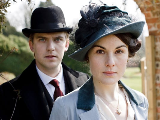 Dan Stevens, left, as Matthew Crawley, and Michelle Dockery as Lady Mary Crawley