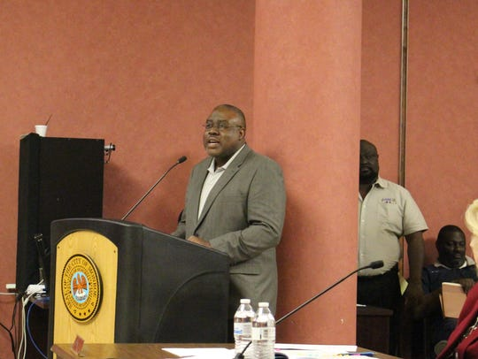 SEDD Executive Director Charles Theus speaks to the