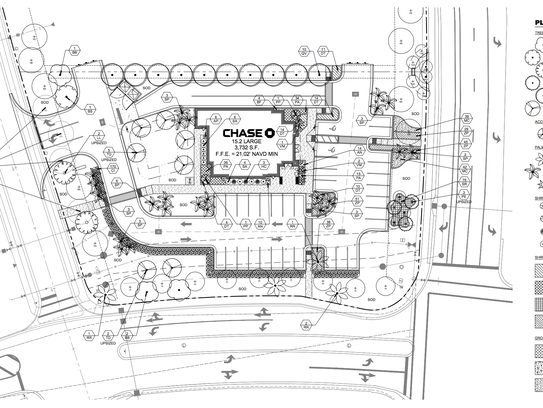Architectural plans for the Chase Bank proposed in