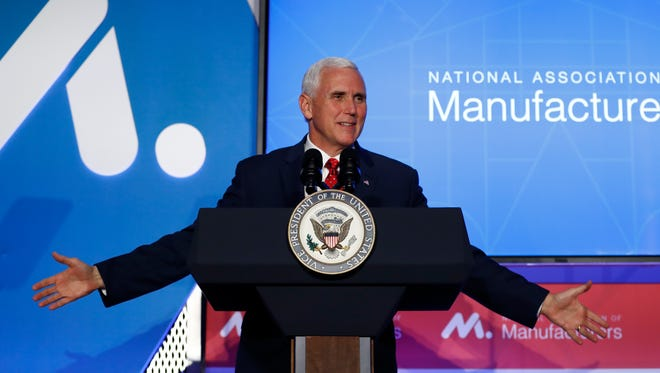 Vice President Mike Pence speaks during the National Association of Manufacturers (NAM) 2017 Manufacturing Summit in Washington, Tuesday, June 20, 2017.