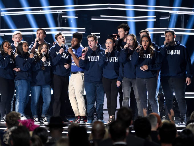 Khalid, seventh from left, and Shawn Mendes, fifth