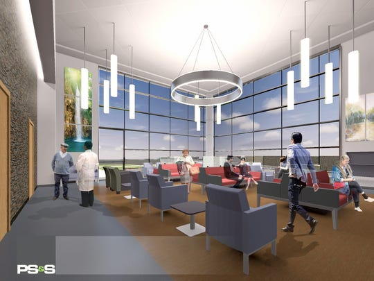 A rendering of the waiting room for Inspira Health
