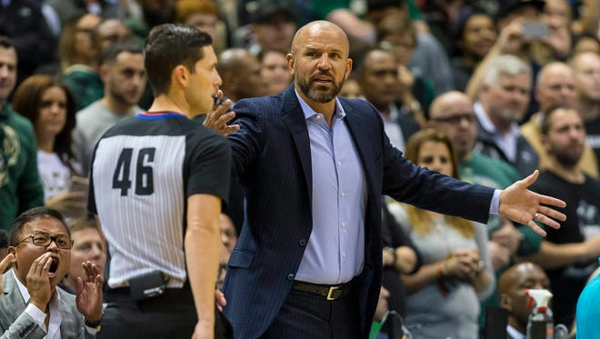 Bucks head coach Jason Kidd argues a call with official Ben Taylor during the fourth quarter against the Hornets on Monday night at BMO Harris Bradley Center.