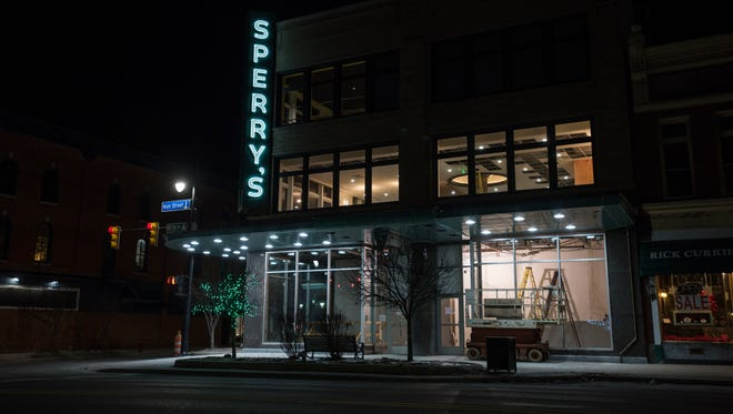 The Sperry's Moviehouse sign lights up the night Monday, Jan. 30, in Port Huron.
