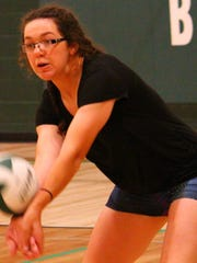 Cloudcroft junior Laci Toddy digs a ball. Toddy will
