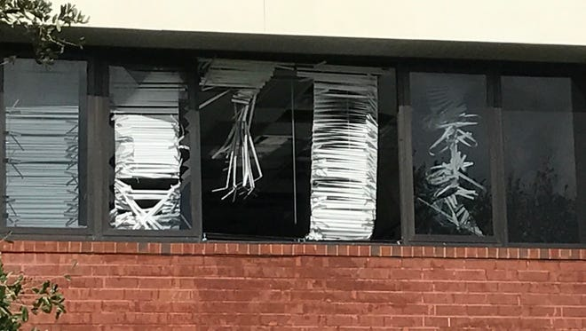 A look at the broken window from outside the classroom at Lehigh Senior High School.