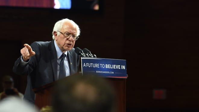 Bernie Sanders speaks at an April 12 rally at Marist College's James J. Recreation Center.