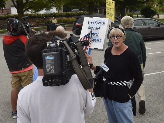 Local media came out in force to interview the Sturgeon Bay anti-racism walkers including Pam Williams talking with WGBA-TV Channel 26.